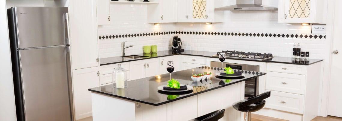 Modern Kitchen with Black stone Benchtop